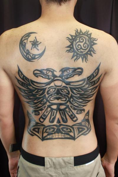 Tatuaje Espalda Tribal Maya Sol Luna Por South Dragon Tattoo