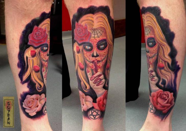 Tatuaje Brazo Cráneo Mexicano Por Yakuza Tattoo