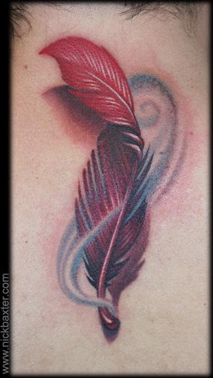 Realistic Feather 3d Tattoo by Nick Baxter