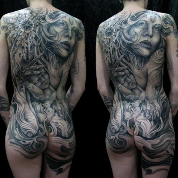 Tatuaje Flor Mujer Espalda Niños Culo Por Mancia Tattoos