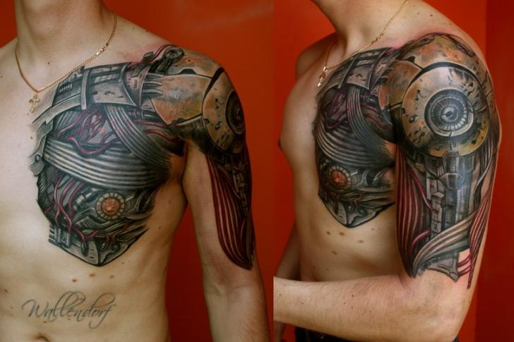Tatuaje Hombro Brazo Biomecánica Pecho Por Lacute Tattoo