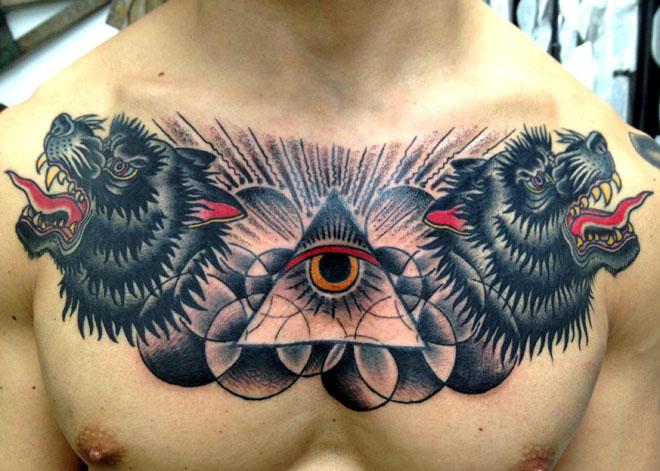 Tatuaje Pecho Old School Lobo Dios Por Saved Tattoo