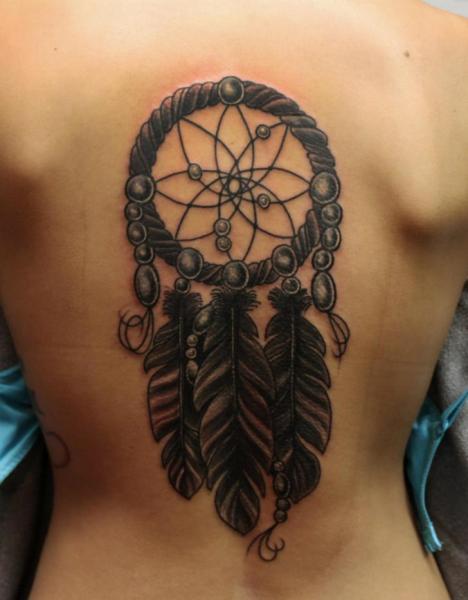 Tatuaje Espalda Atrapasueños Por S13 Tattoo