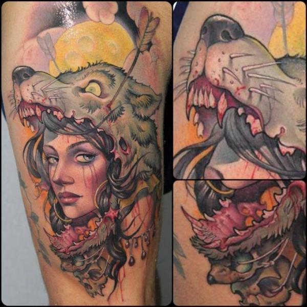 Tatuaje Pierna Mujer Lobo Por Victor Chil
