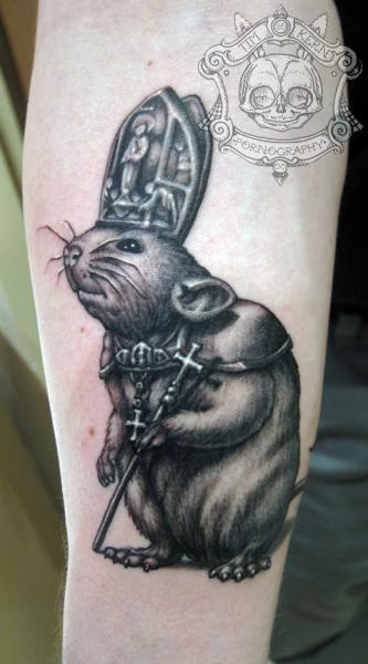 Arm Fantasy Mouse Tattoo by Tim Kerr