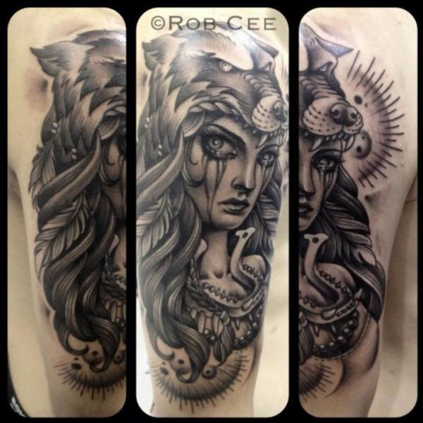 Tatuaje Brazo Mujer Lobo Por Underworld Tattoo Supplies