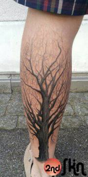 realistic calf tree tattoo 2nd