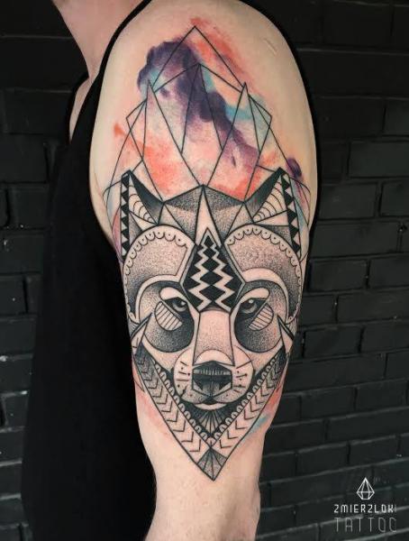 Tatuaje Dotwork Zorro Acuarela Por Zmierzloki Tattoo