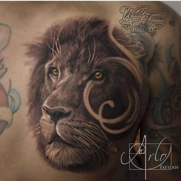 Tatuaje Realista Pecho León Por The Raw Canvas