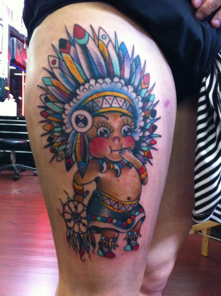 Native American Baby Boy Tattoo On Thigh Tattoo Love