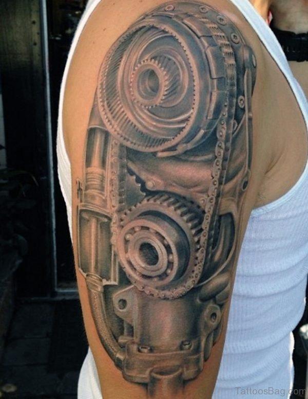 Mechanic Skull Tattoos For Men