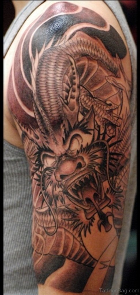 72 Outstanding Dragon Shoulder Tattoos