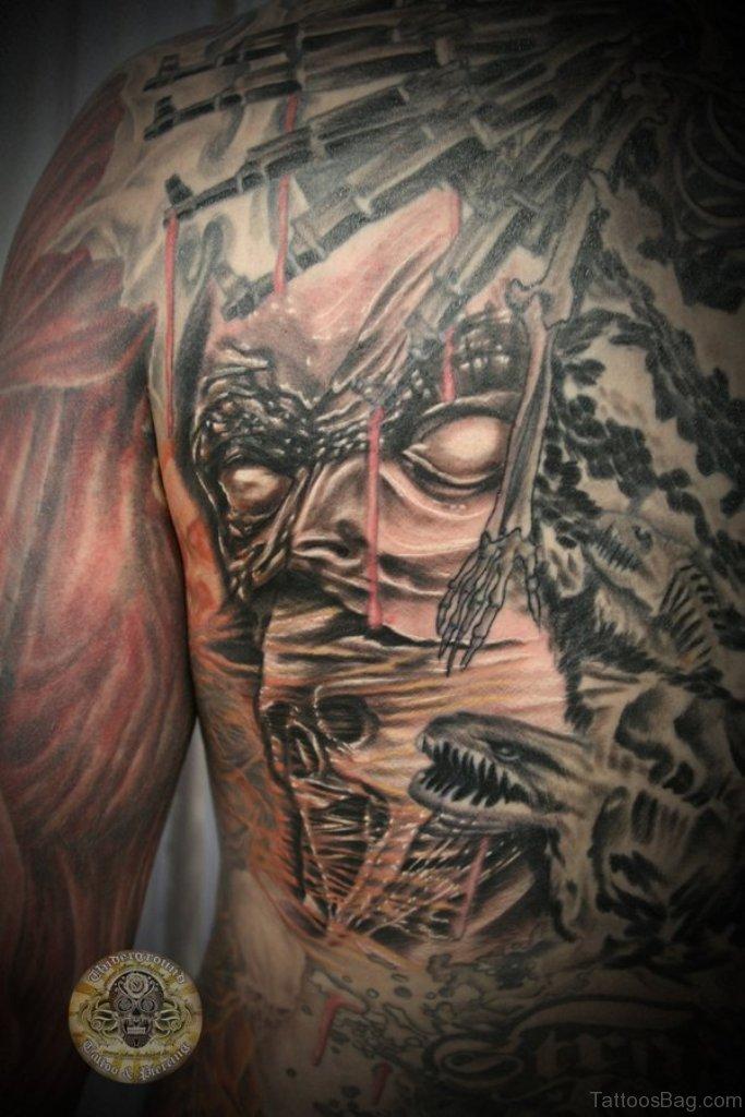Angel Girl And Skulls Wallpaper 21 Incredible Horror Tattoos On Back
