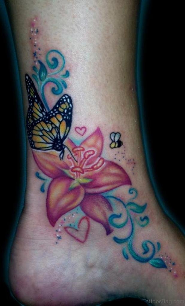 Butterfly And Flower Tattoo Designs For Women