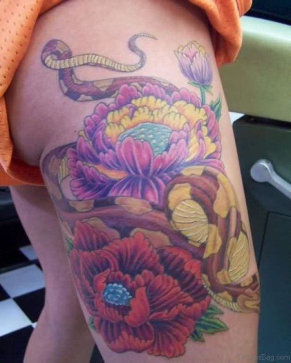 Snake And Flower Tattoos