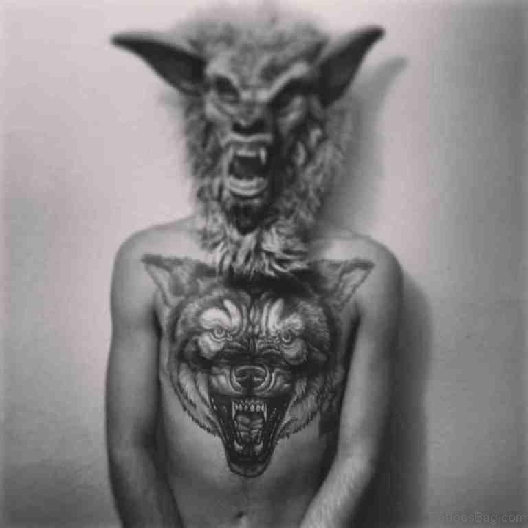 White And Black Wolf Tattoo