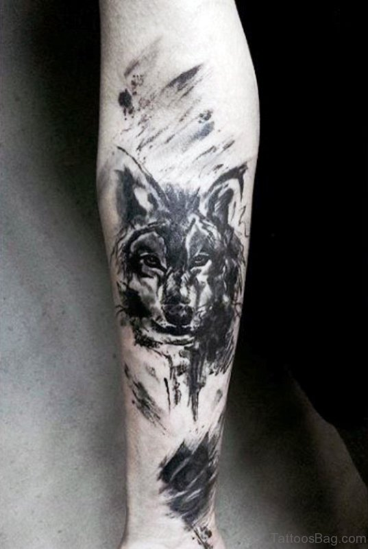 Black Alpha Wolf Tattoo