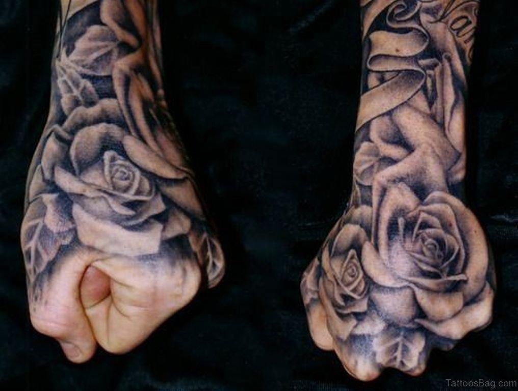 Rose Tattoo On Hand For Men