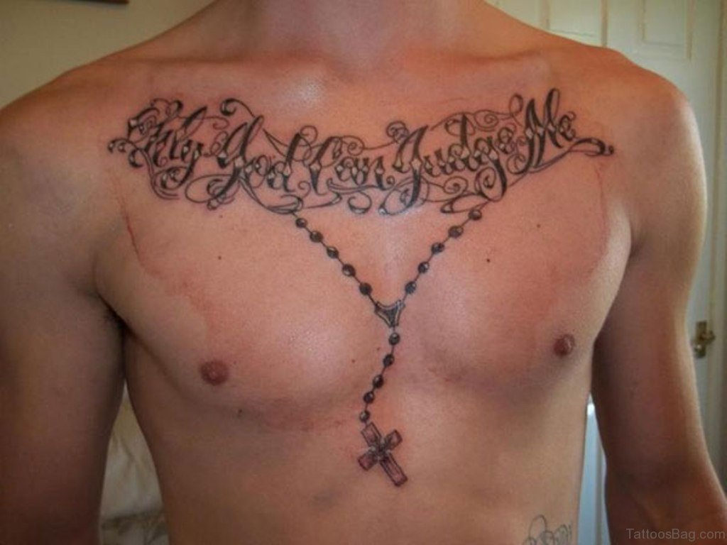 Only God Can Judge Me Chest Tattoo Designs