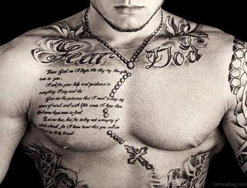 Rosary Tattoos On Chest Designs