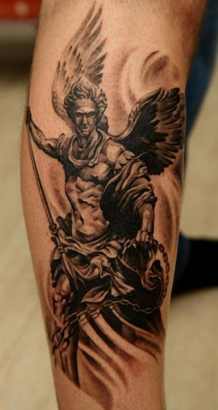 A severe angel with a baculus is inked as a tattoo owner's guardian