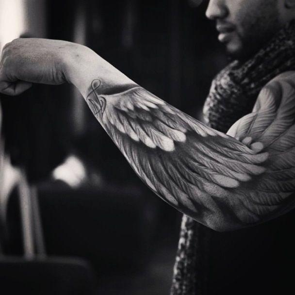 An angel wing as a sleeve tattoo is an astonishing design