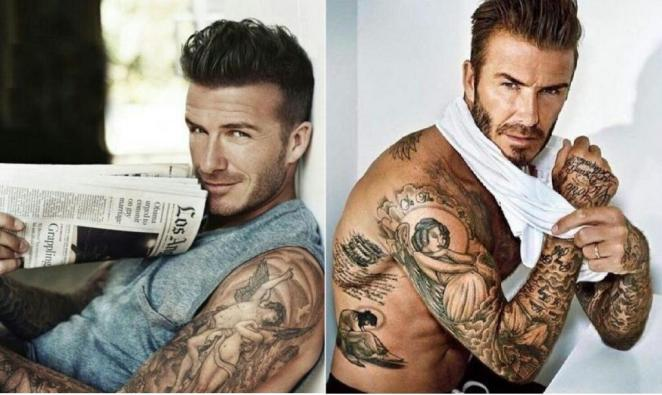 David Beckham often turns to angel theme in hes tattoos