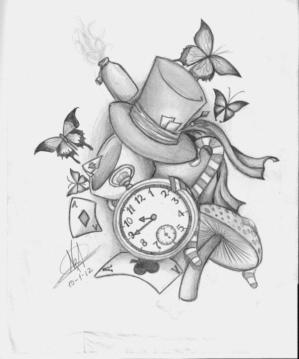 alice in wonderland tattoos design