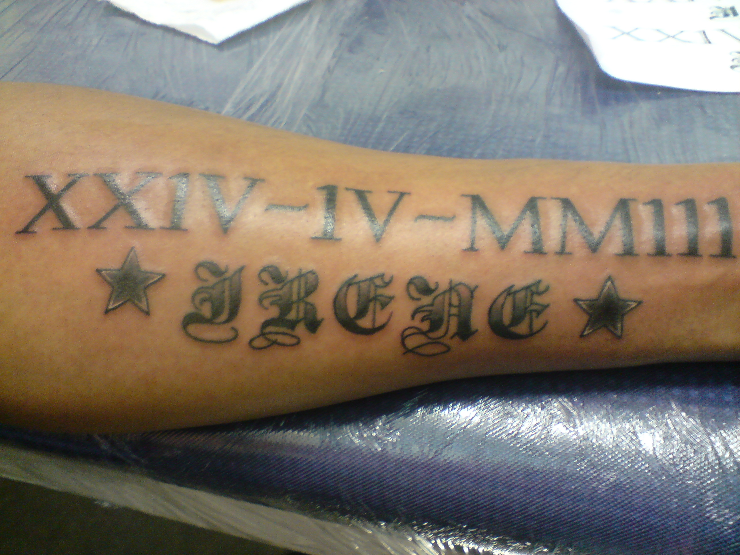 Roman Numeral Date Tattoo On Wrist