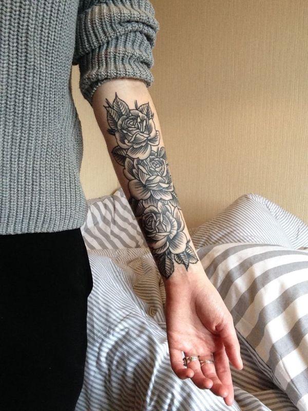 rose forearm tattoo design ideas
