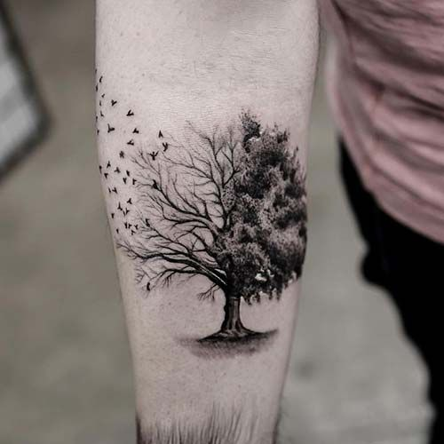 20 Tree With Flying Birds Tattoos Forarm Ideas And Designs