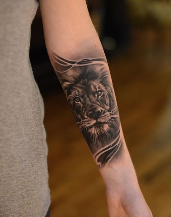 lion forearm tattoos design ideas