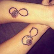 matching rose tattoos design