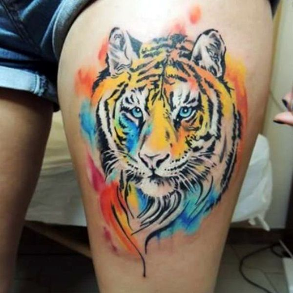 Watercolor Tiger Tattoo Designs Ideas and Meaning