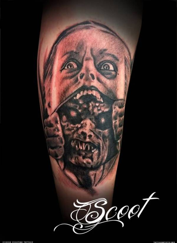 20 Screaming Face Tattoos Horror Movie Ideas And Designs