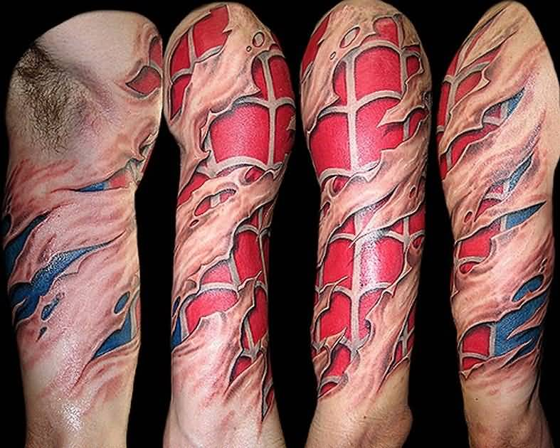 Ripped Skin Tattoo Sleeve