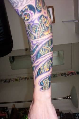 Biomechanical Tattoo Leg Sleeve