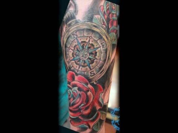 20 Compass Flower Sleeve Tattoos Ideas And Designs