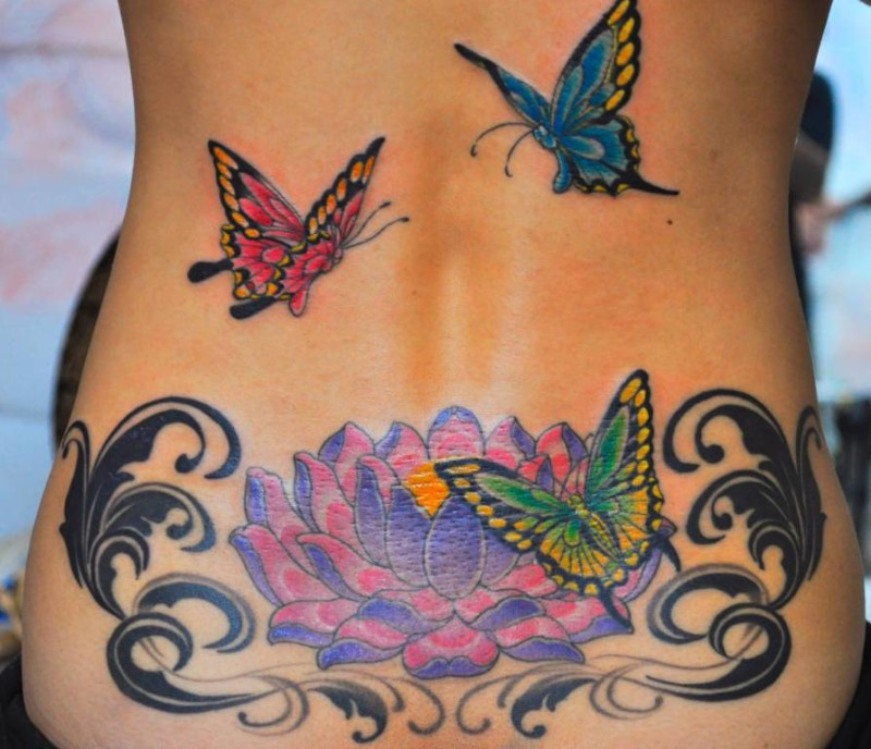 Lower Back Flower Cover Up Tattoos
