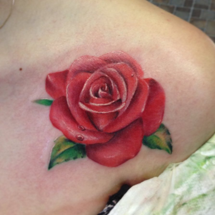 Rose Tattoo Collarbone