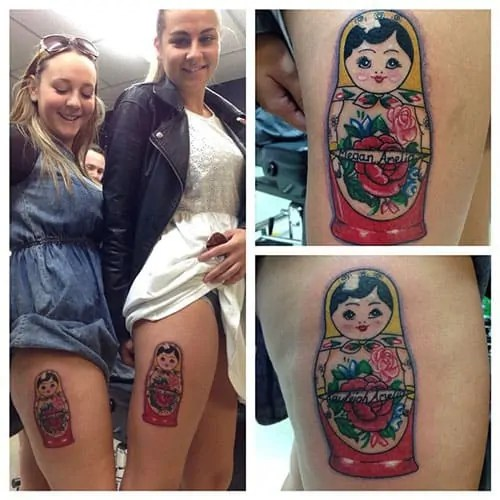 Matryoshka tattoos for sisters