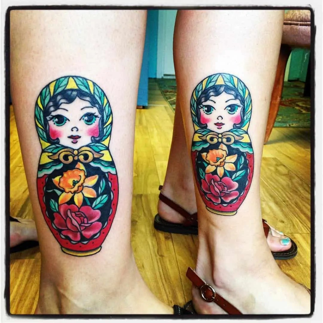 Russian dolls babushka tattoo for sisters
