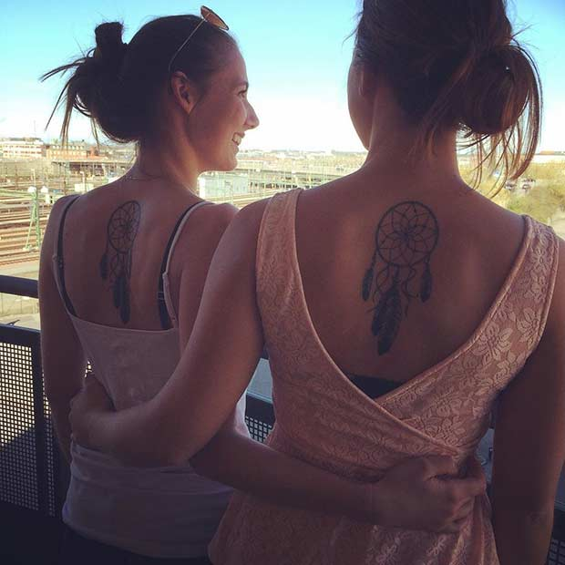 Dream catcher cute sister tattoo