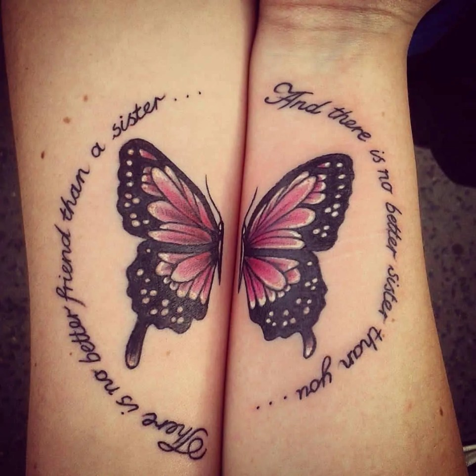 tattoo for sister half butterfly