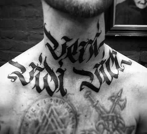 veni vidi vici modern neck and chest tattoo design