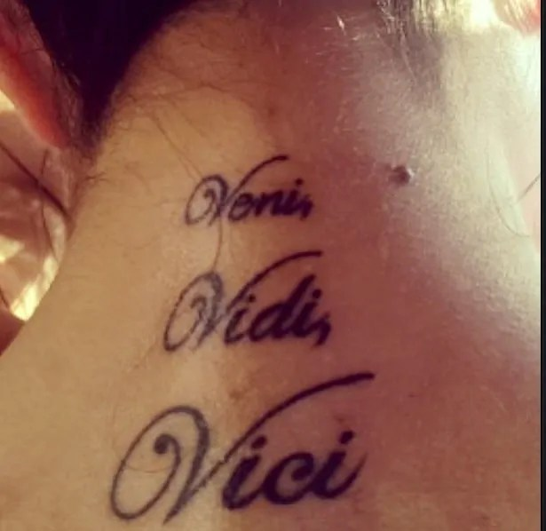 Veni vidi vici tattoo on the neck for woman