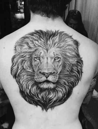 Lion tattoo on back