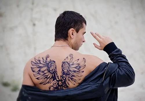 Wings and Roses Tattoo for Men