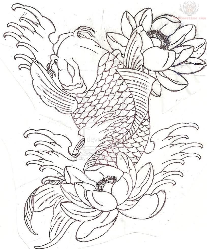 Coy Fish Tattoo Stencils