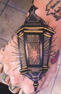 Street Lamp Tattoo On Hand
